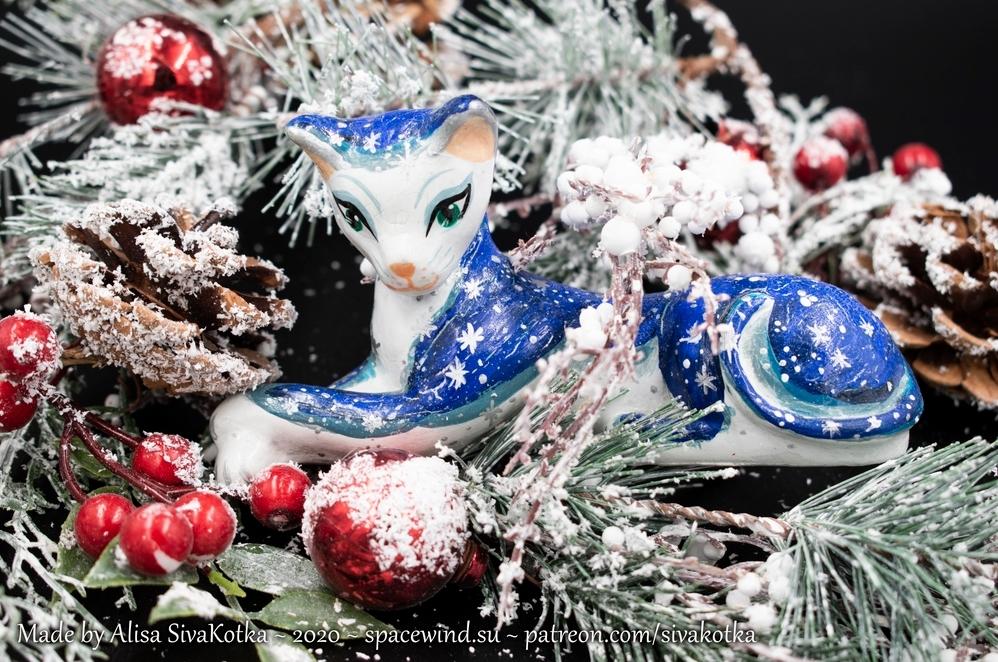 Звёздная кошка из гипса