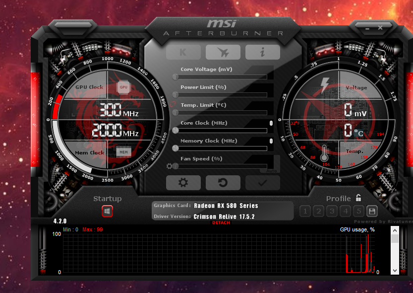 MSI Afterburner displaying almost no info? Not allowing most