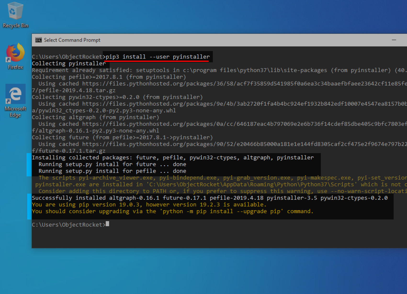 Screenshot of Windows command prompt installing the PyInstaller library with the PIP3 Python package manager