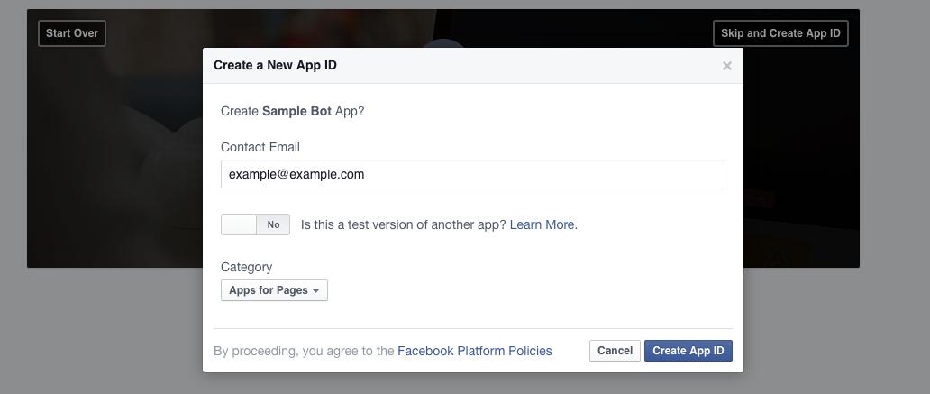 FB App連絡先Page登録画面