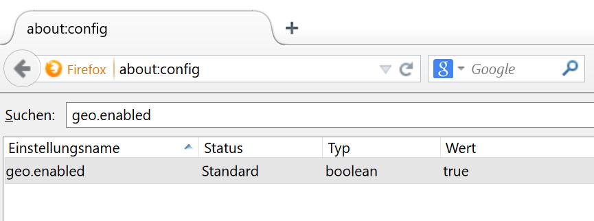 Standort-Tracking bei Mozilla Firefox deaktivieren (about:config -> geo.enabled)