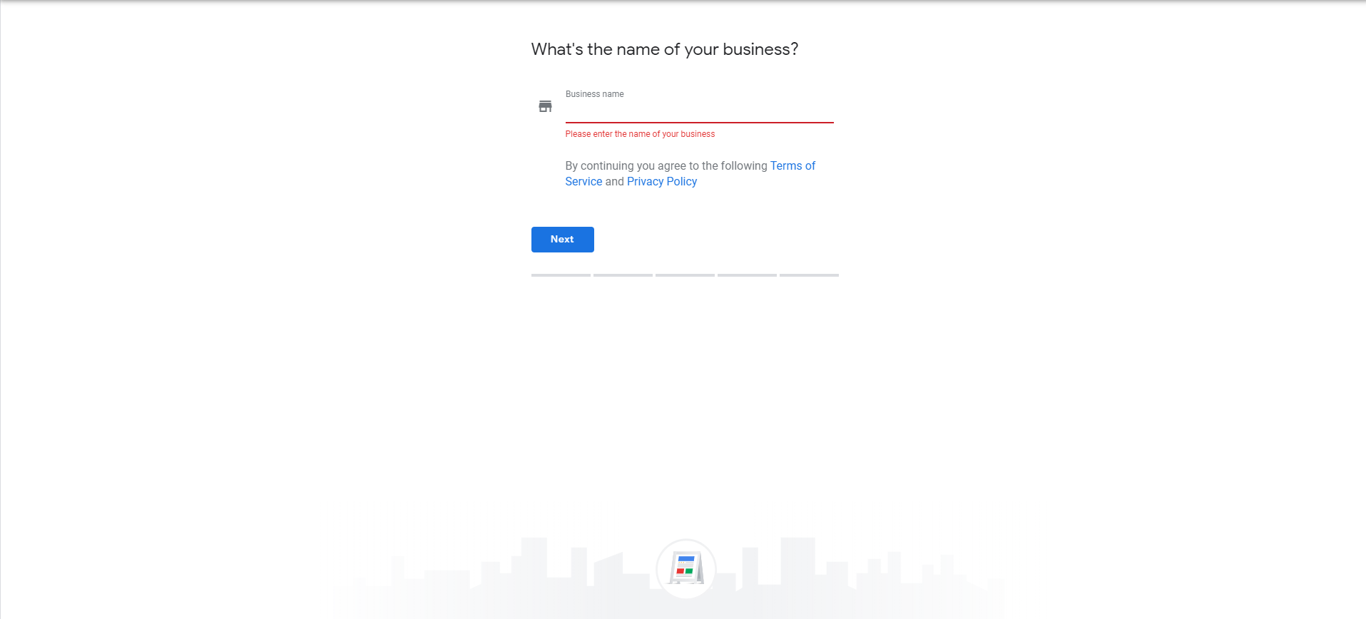 google my business set up page