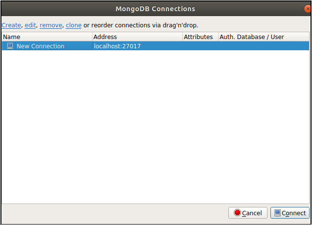 Robo 3T MongoDB Connection windows prompt after running the Robo 3T application