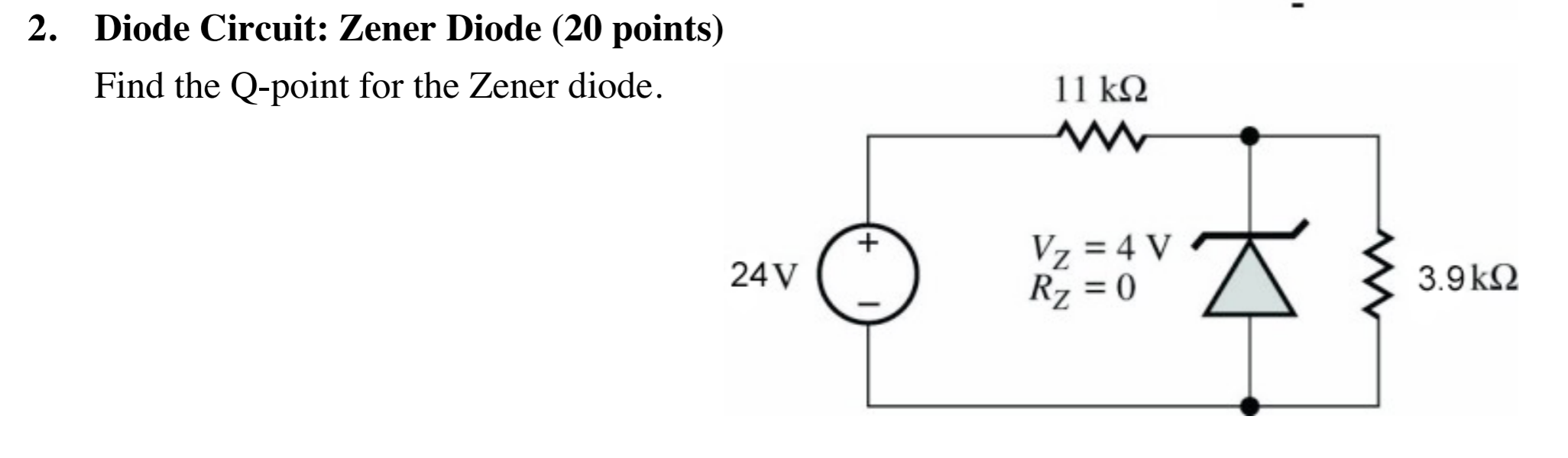 Find the Q-point for the Zener diode.