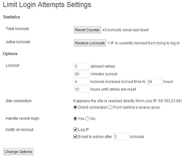 Wordpress limit login attempts brute force