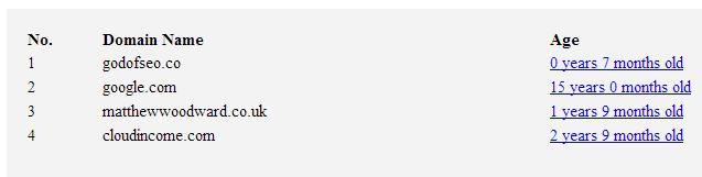 webconfs domain age checker