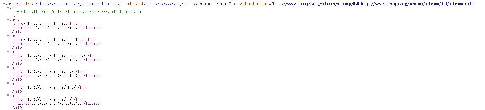 XMLサイトマップ