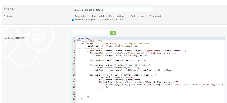 Realizar suma automática con la tirada de dados para un usuario determinado De77c38bd0014d34ca6bba59ae78172c