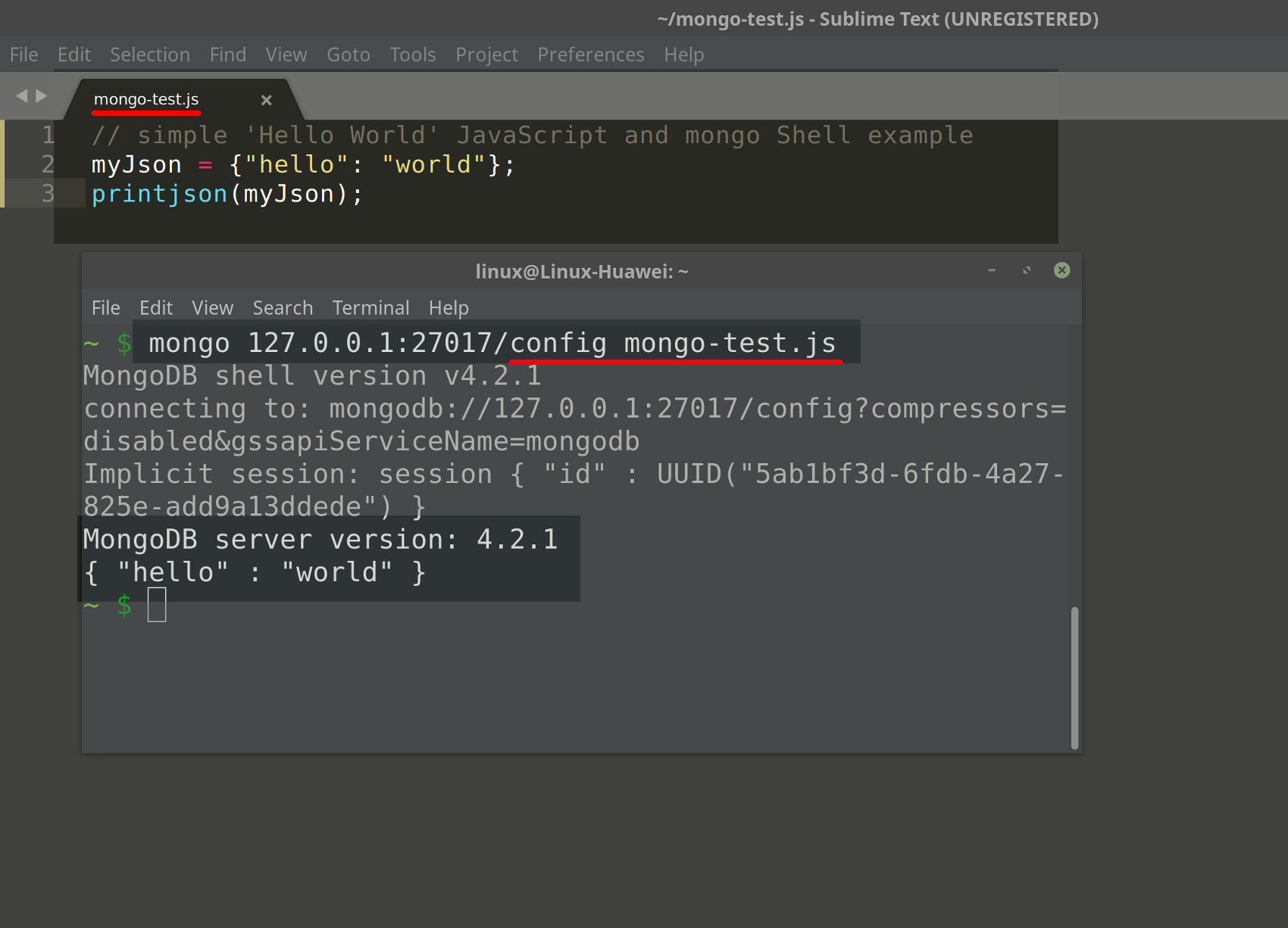 Screenshot of Sublime and terminal executing MongoDB JavaScript using mongo Shell