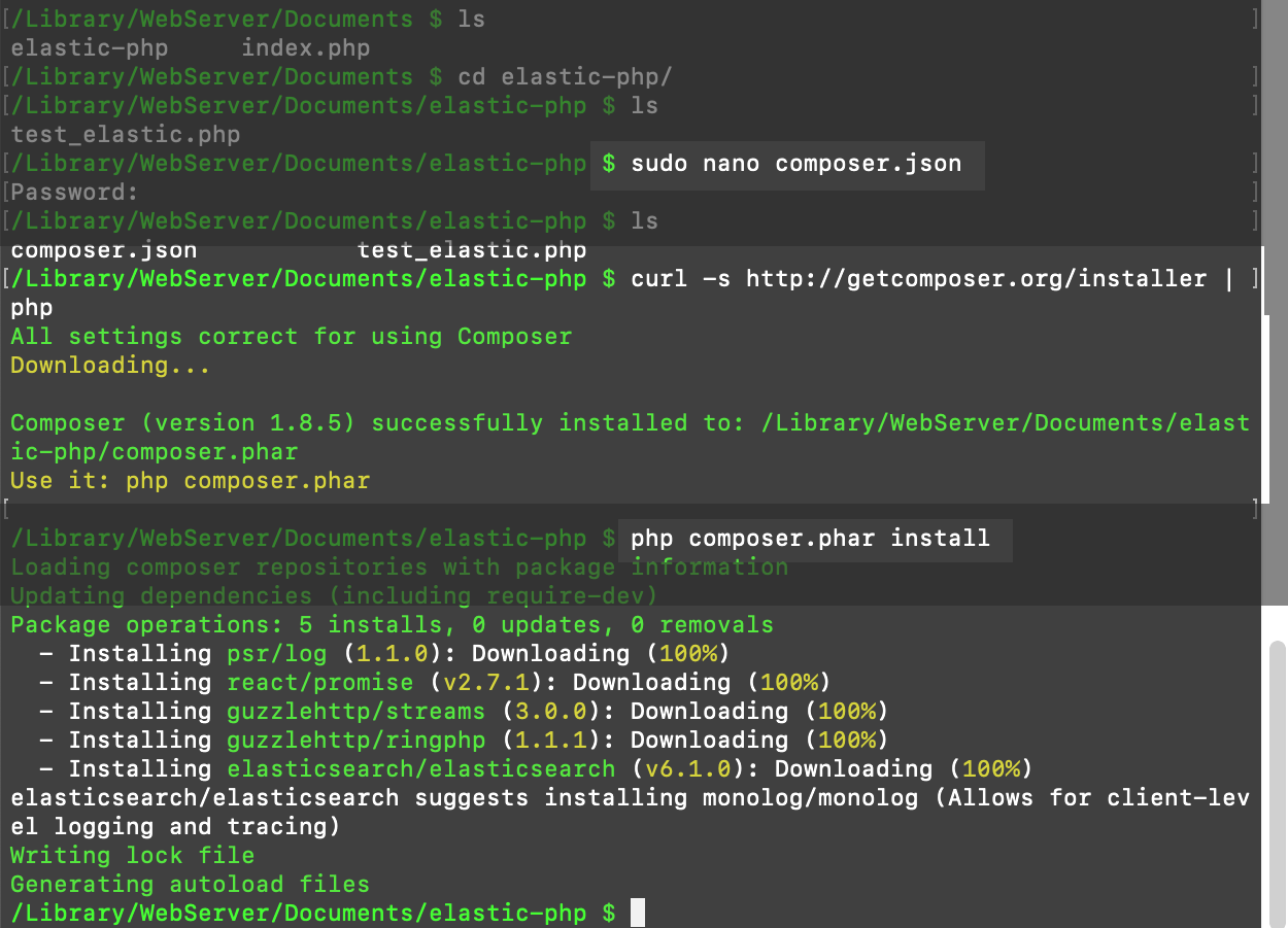 Screenshot creating the Elasticsearch vendor library using Composer in terminal