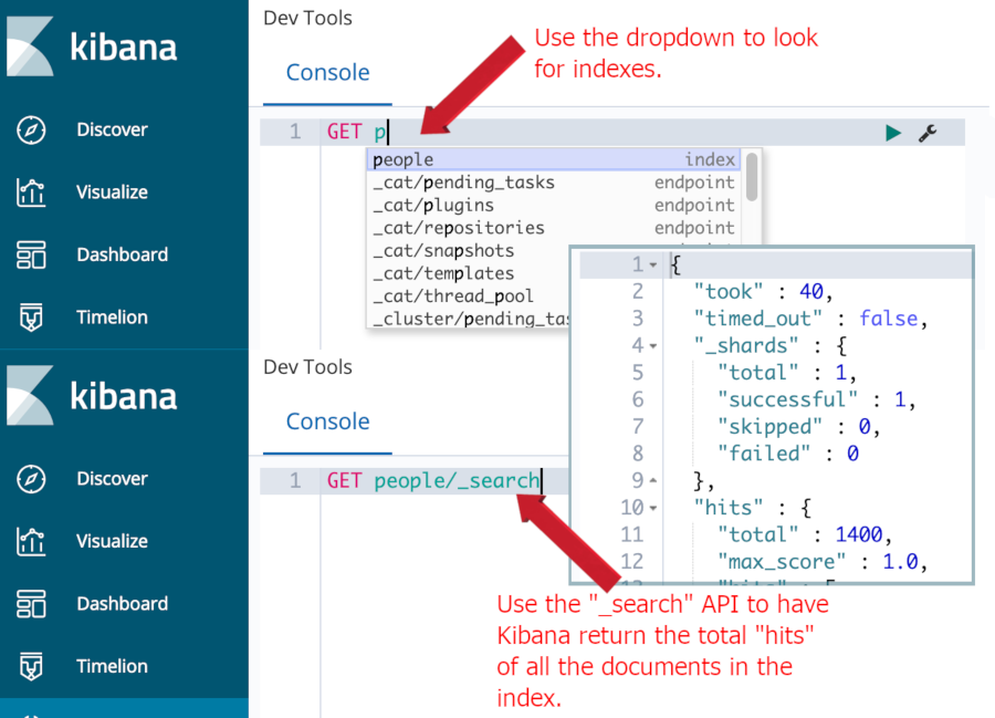 "A screenshot of an HTTP request in the Kibana Console UI using ""GET"" to look for documents in an index"