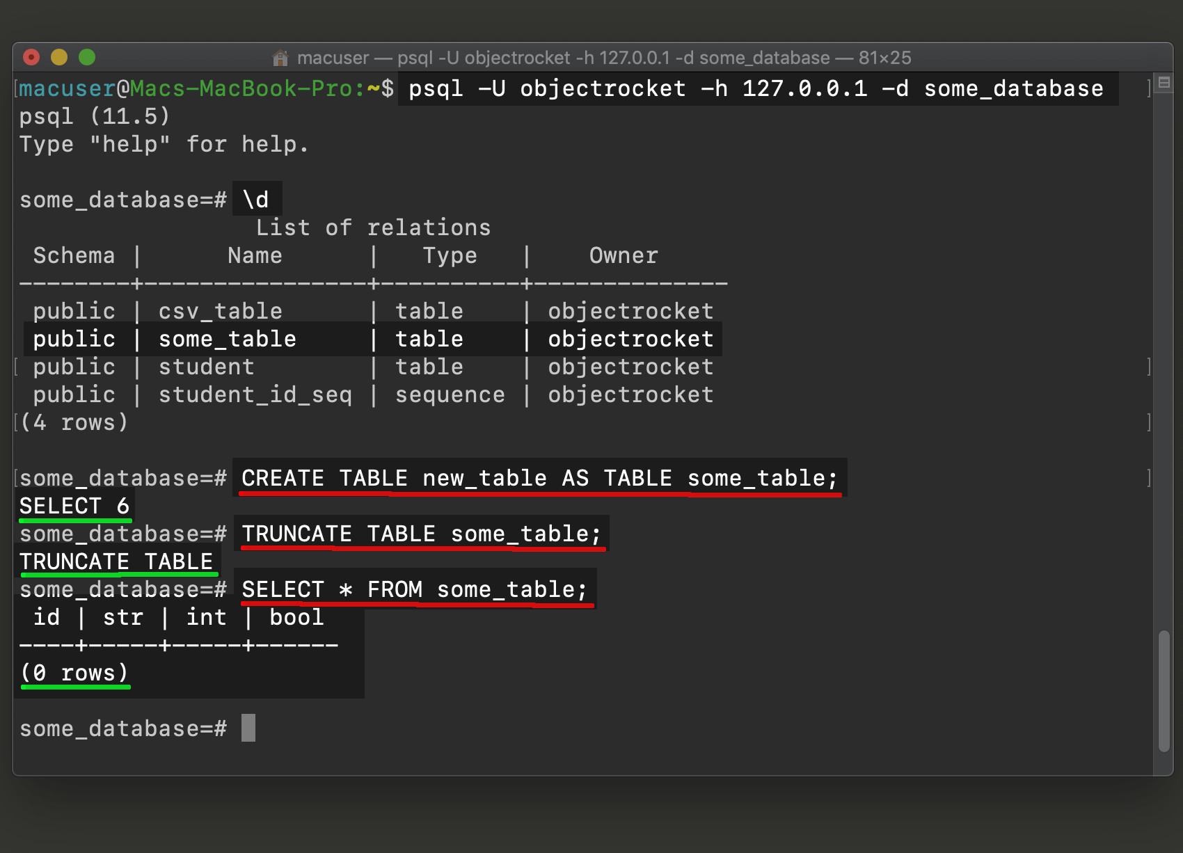 Screenshot of psql CREATE TABLE and TRUNCATE TABLE Postgres