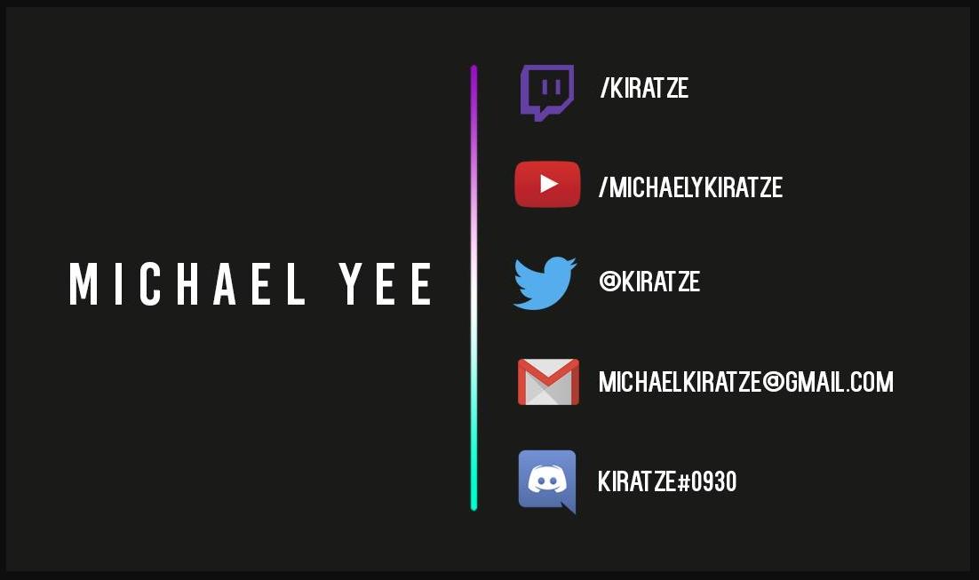 Michael Yee, Kiratze, michaelkiratze@gmail.com, @kiratze, kiratze#0930