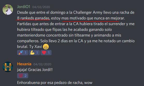 Avance Challenger Army Febrero 2020