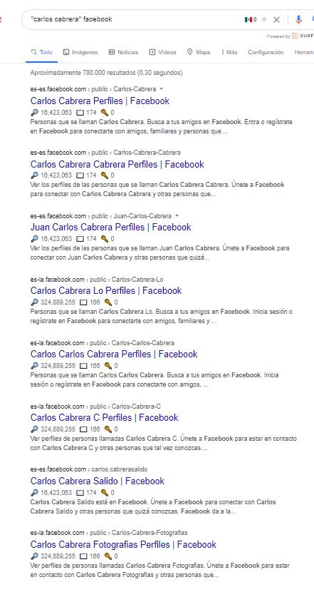 busqueda de perfil facebook