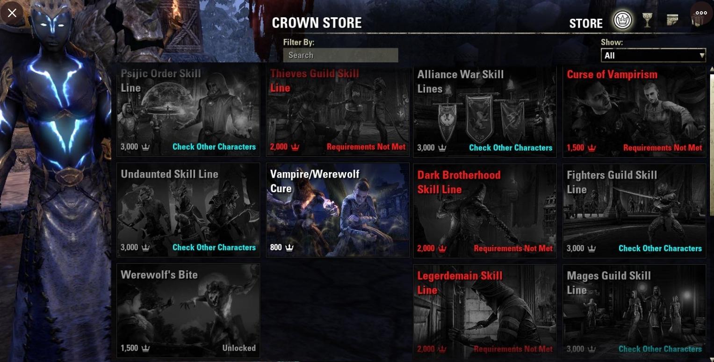 PURCHASABLE SKILL LINE PRICES — Elder Scrolls Online