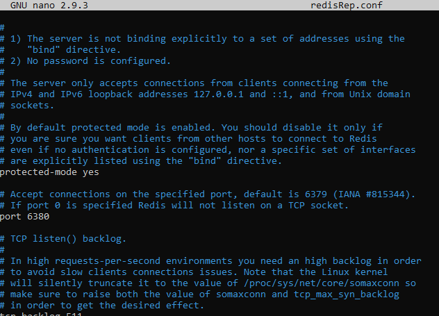 Redis configuration file for the server listening port