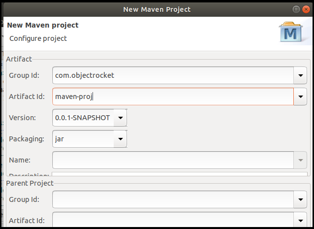 Creating the new Maven project by setting up the Artifact details