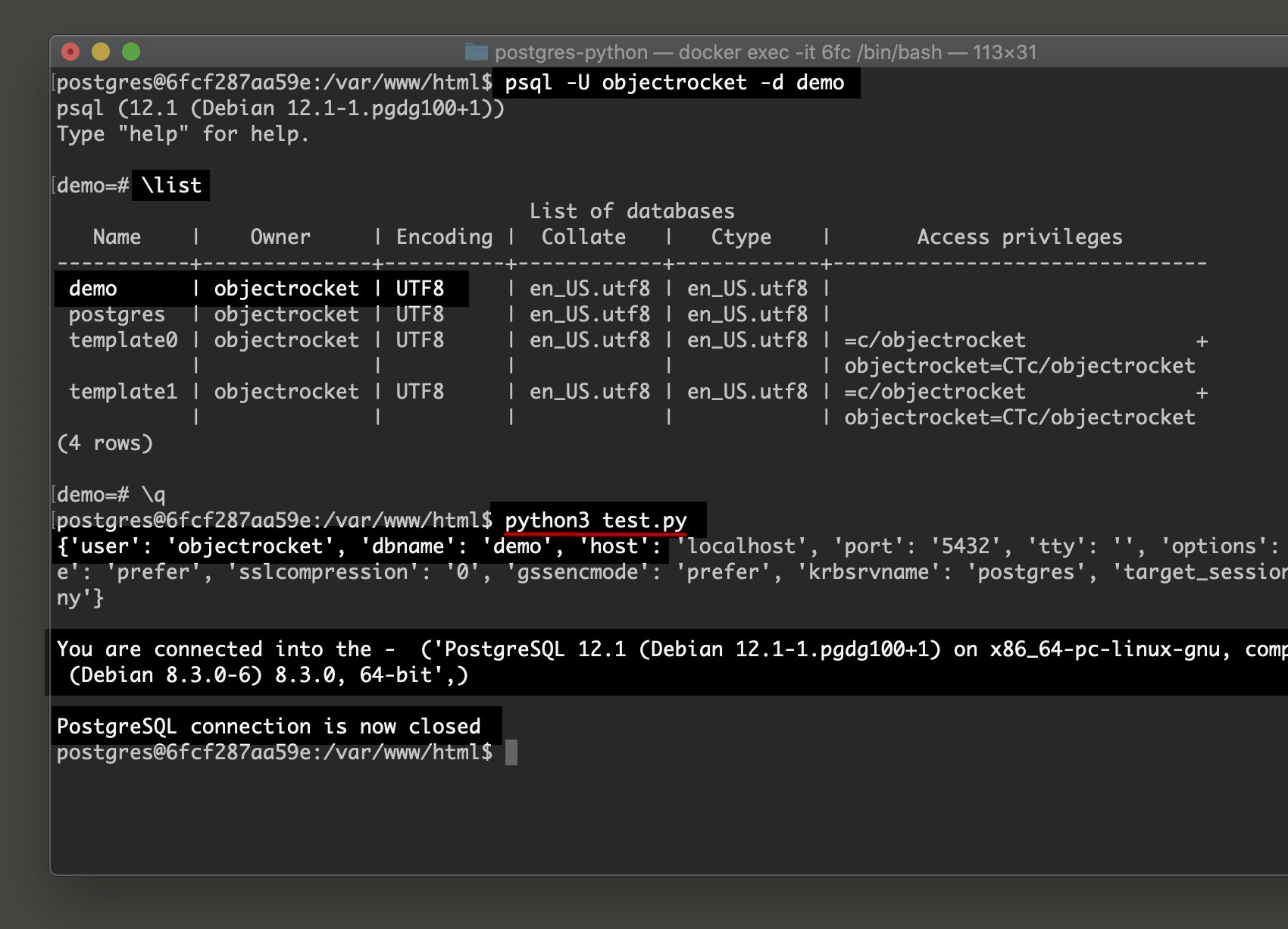 Screenshot of PostgreSQL CRUD example in Python Psycopg2 connection script