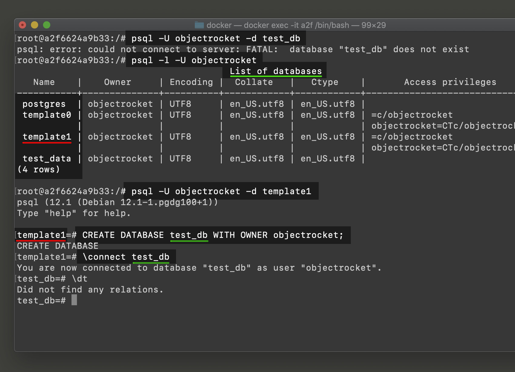 Screenshot of psql connecting to template1 Postgres database to CREATE DATABASE