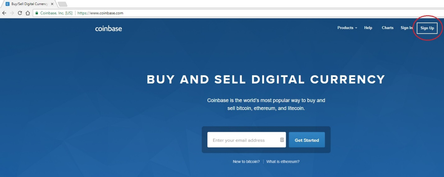 "Click ""Sign Up"" in the top right corner to create your Coinbase account"