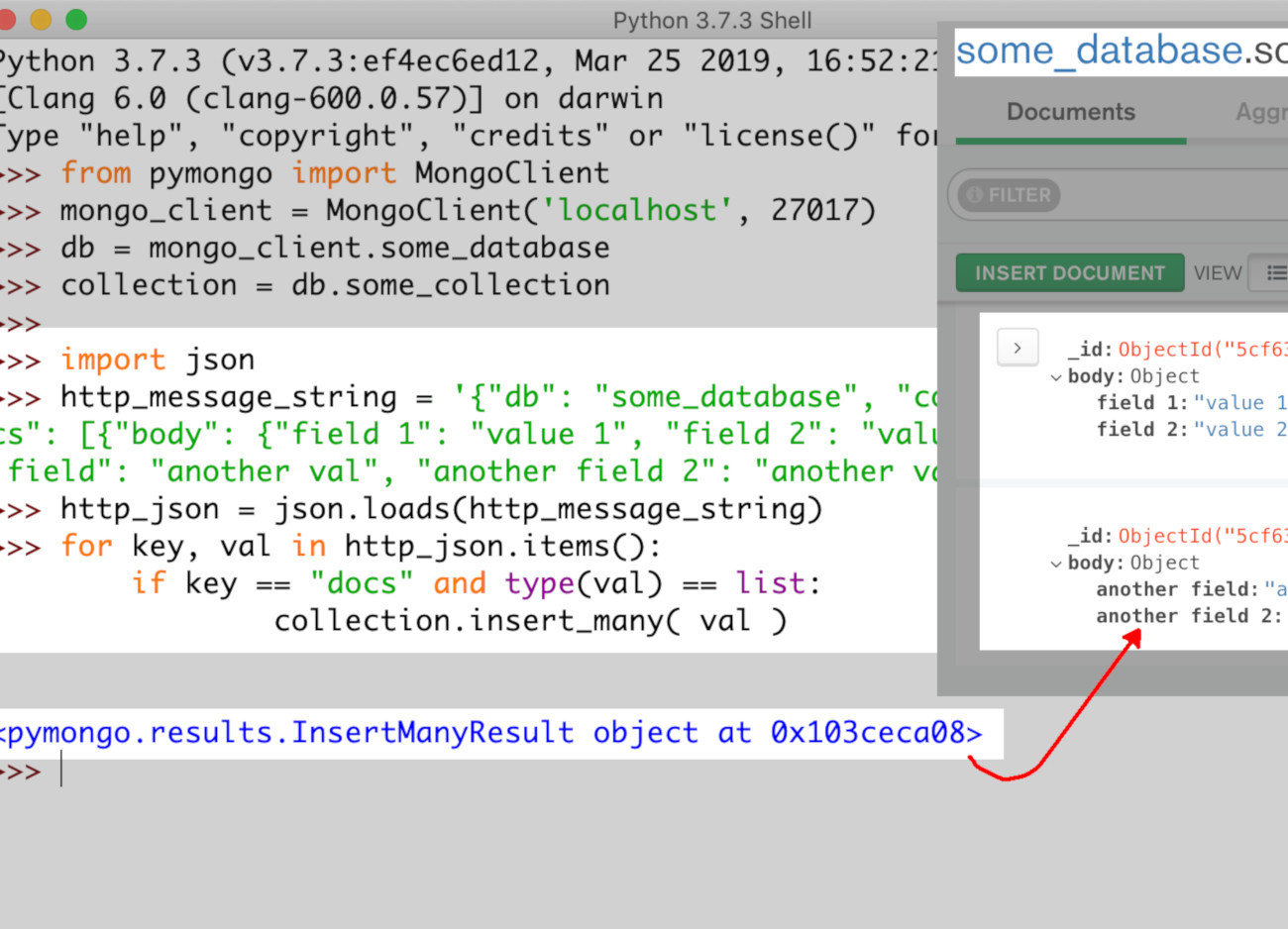 Screenshot of Python IDLE parsing a JSON string and using it to make an API request to MongoDB to insert documents