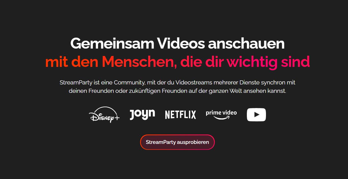 StreamParty - Gemeinsam Videos oder Filme mit Freunden synchron abspielen.
