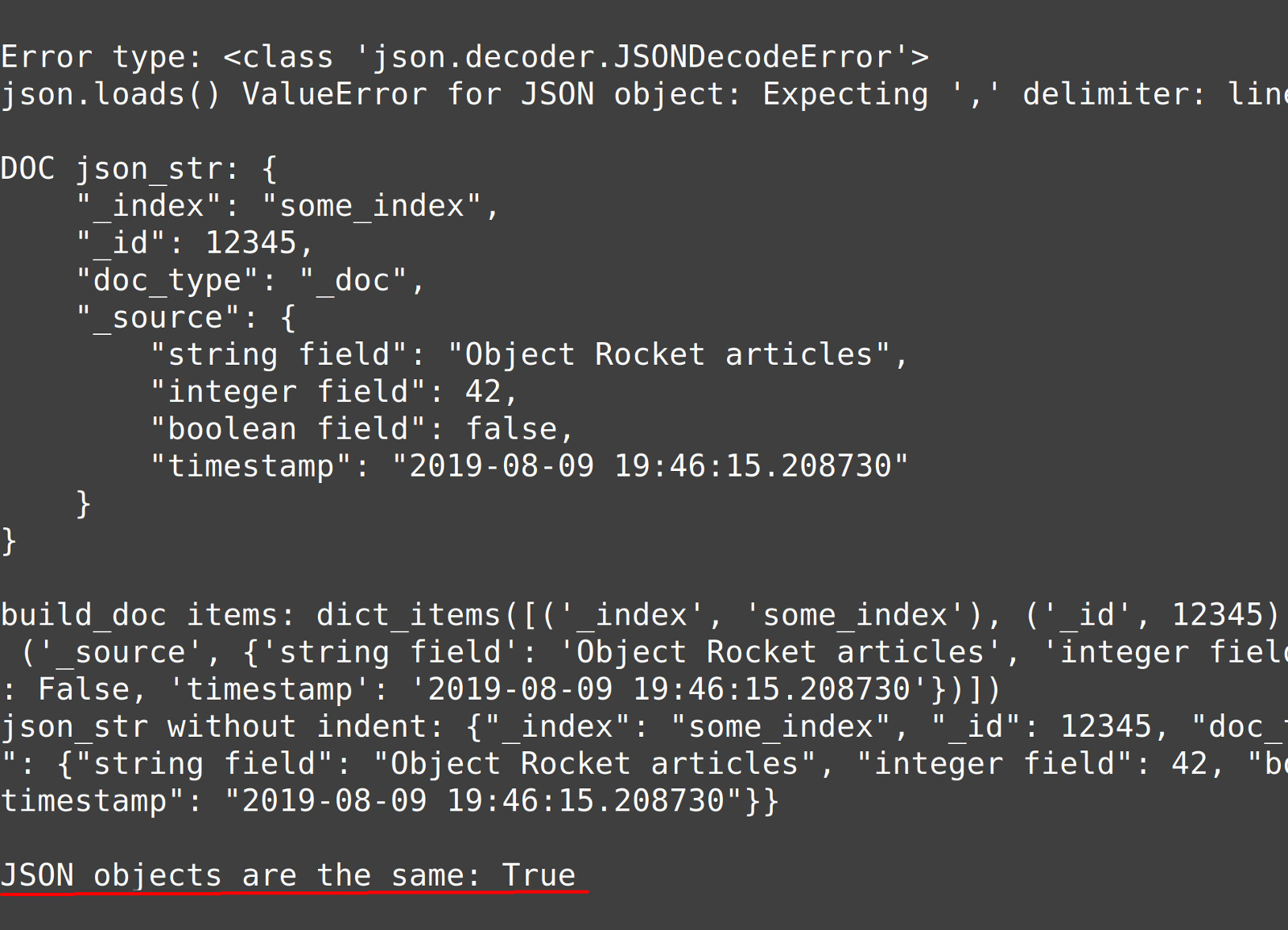 Screenshot comparing two JSON dict objects representing Elasticsearch documents created in Python
