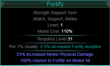 Witch Compilation Of Minion Related Shit In Awakening Forum Path Of Exile It causes the linked melee skills to apply the fortify buff on the user, which reduces incoming damage from hits by 20%. path of exile