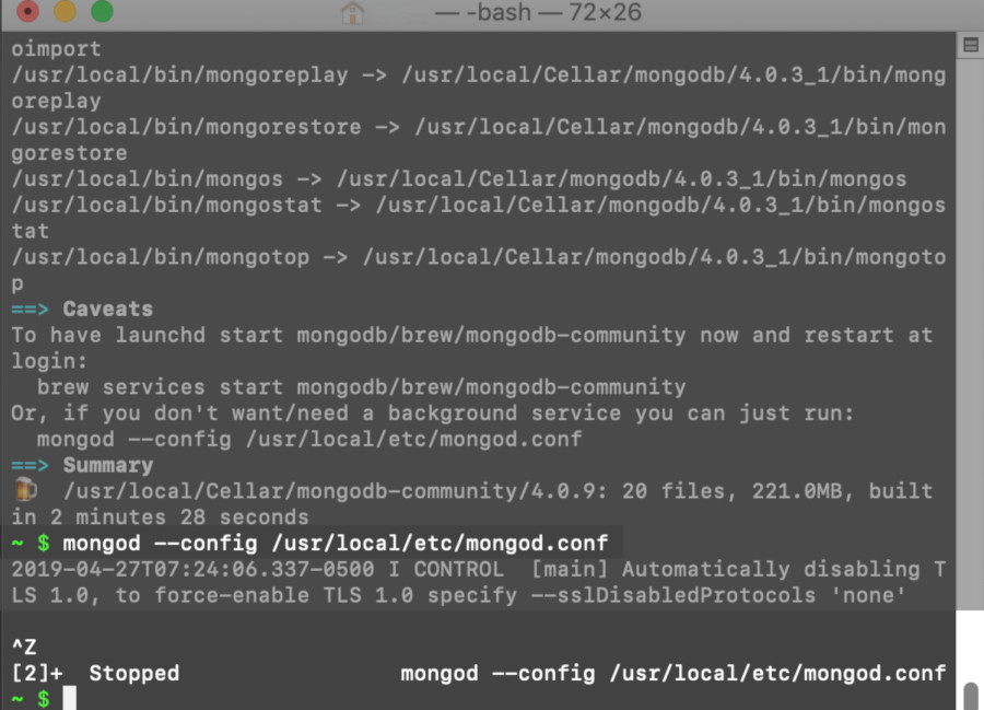 Screenshot of a macOS terminal starting and stopping the MongoDB service