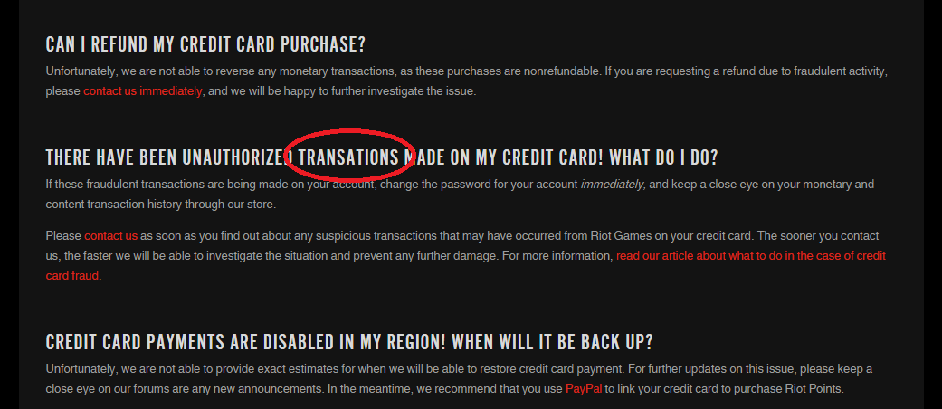 Typographical error [Riot Games Support - Billing & Store