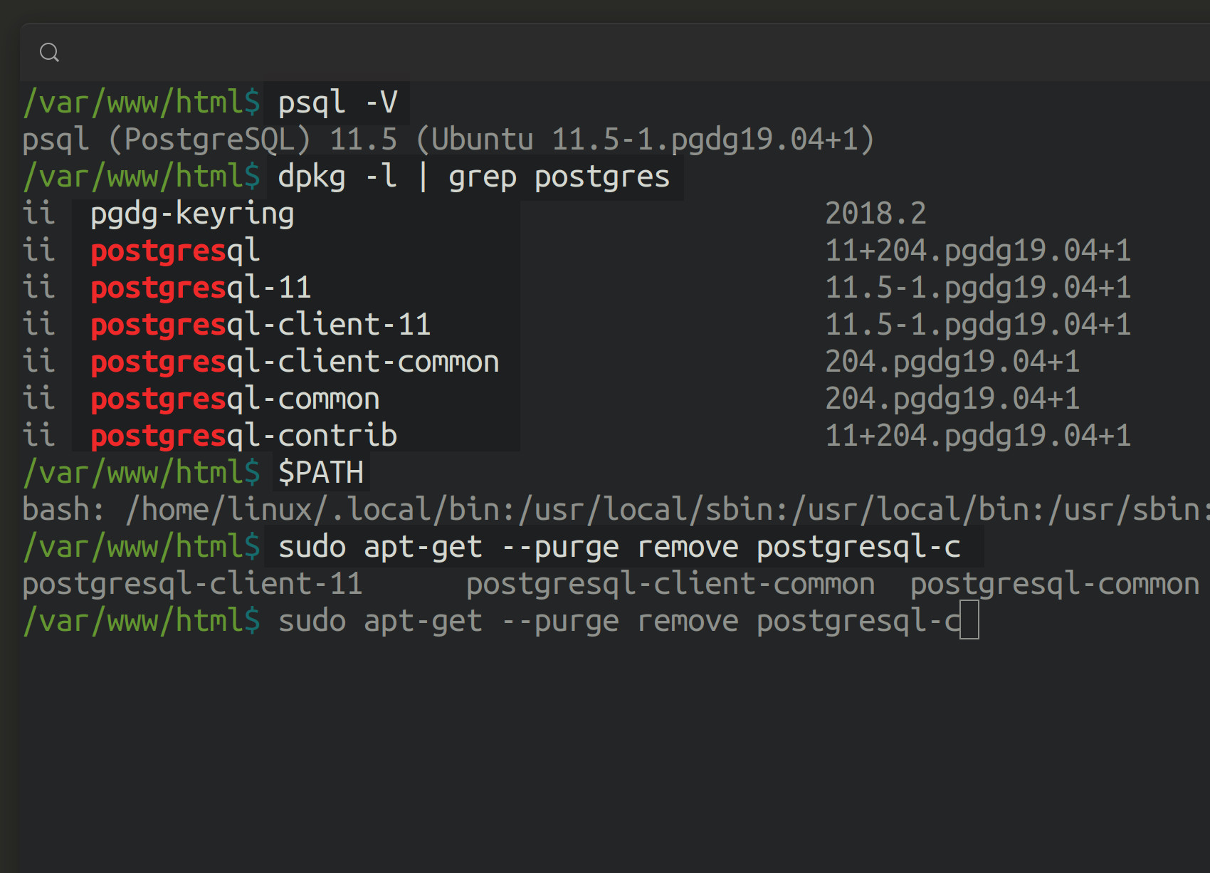 Screenshot of a Debian Ubuntu terminal uninstalling, removing, and purging postgresql