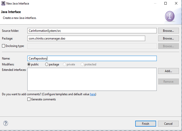 image shows the New Java Interface window