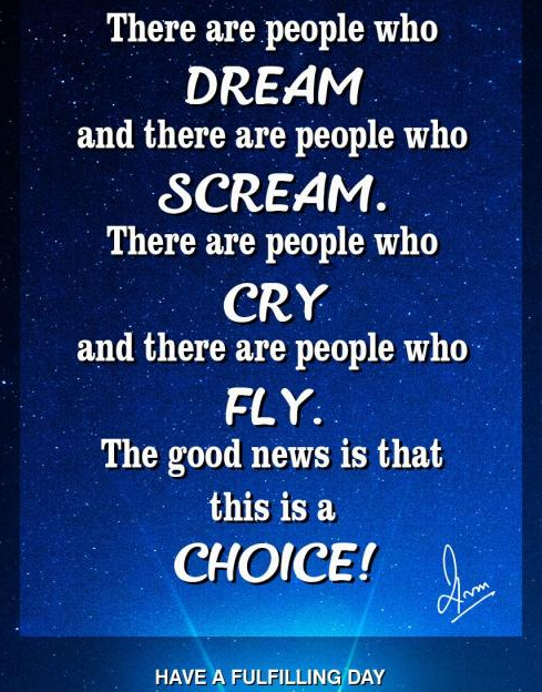 There are people who Dream and there are people who Scream. There are people who Cry and there are people who Fly. The good news is that this is a CHOICE!