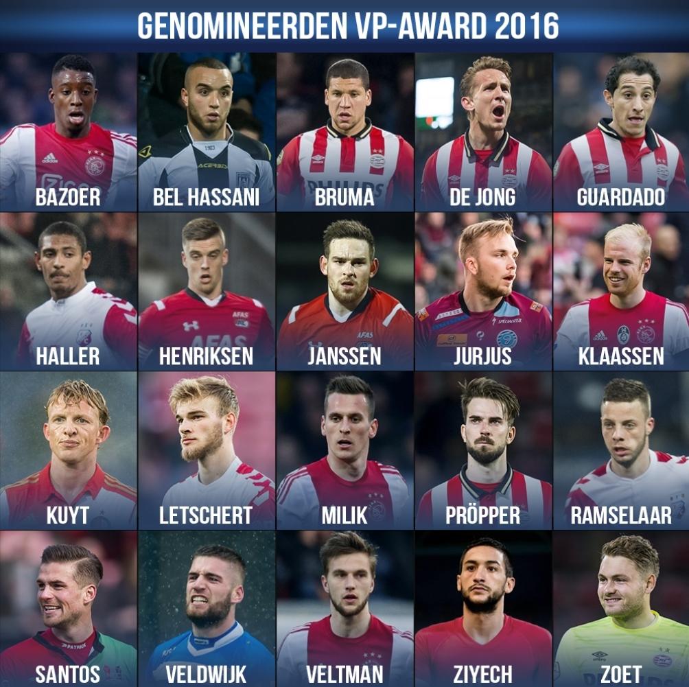 Vp Award 2016 Wie Is De Beste Speler Van Dit Eredivisie