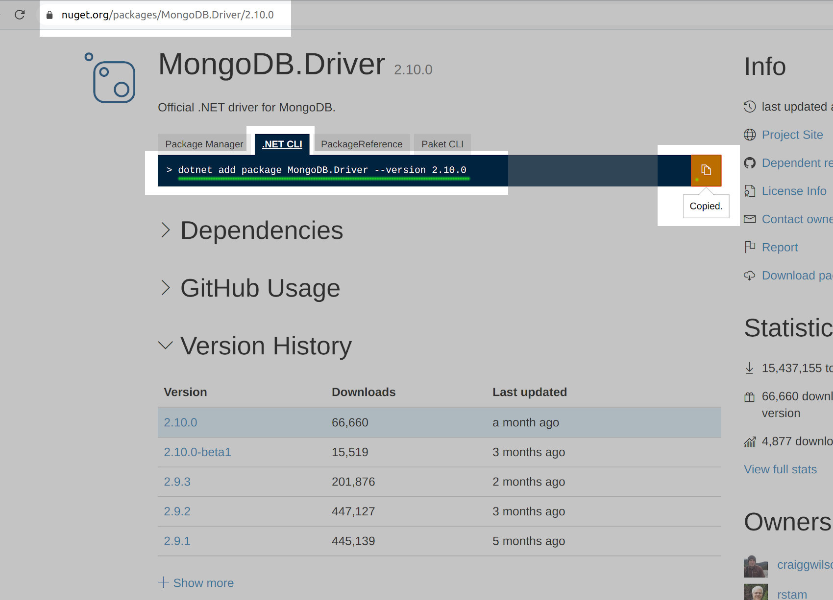Install C# driver for MongoDB using the dotnet add package command