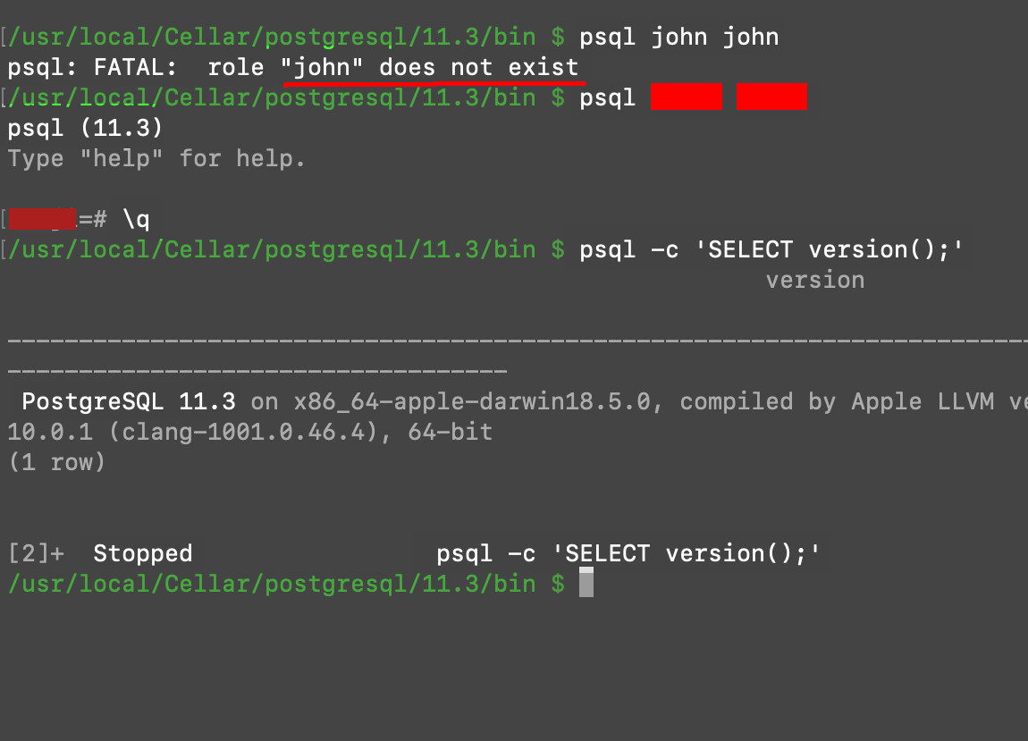 Screenshot of a terminal in macOS getting the PostgresSQL psql version