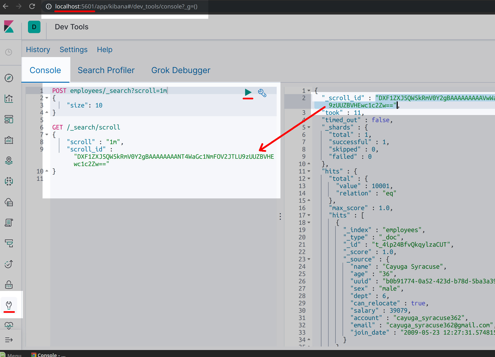 Screenshot of Kibana Console UI creating a scroll ID using a POST HTTP request