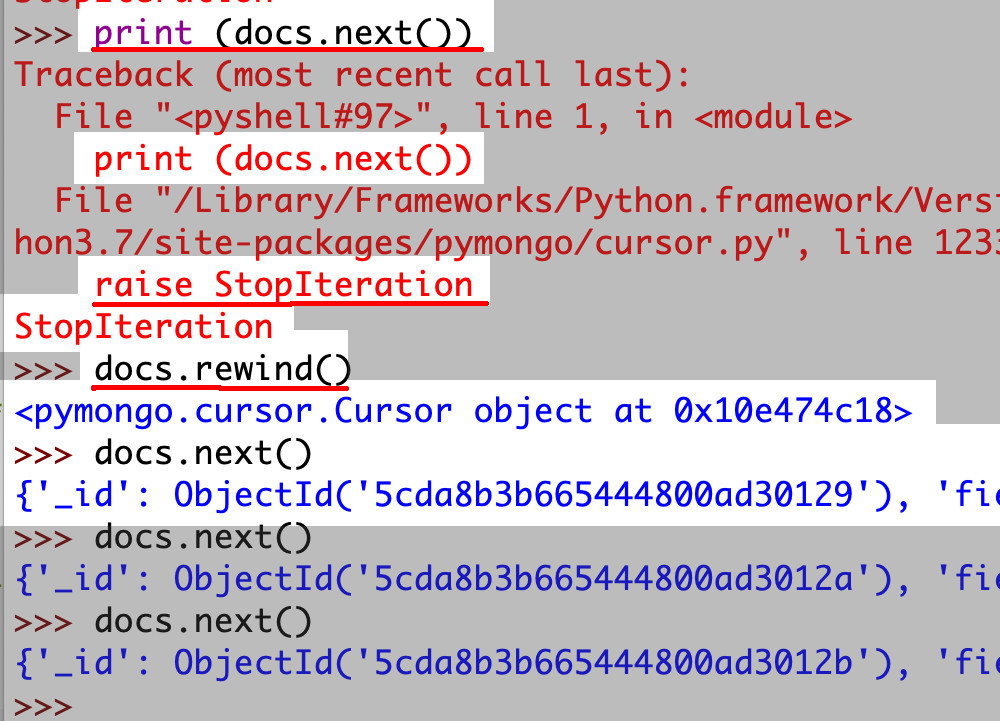 Screenshot of Python IDLE Pymongo returning a StopIteration Cursor object error