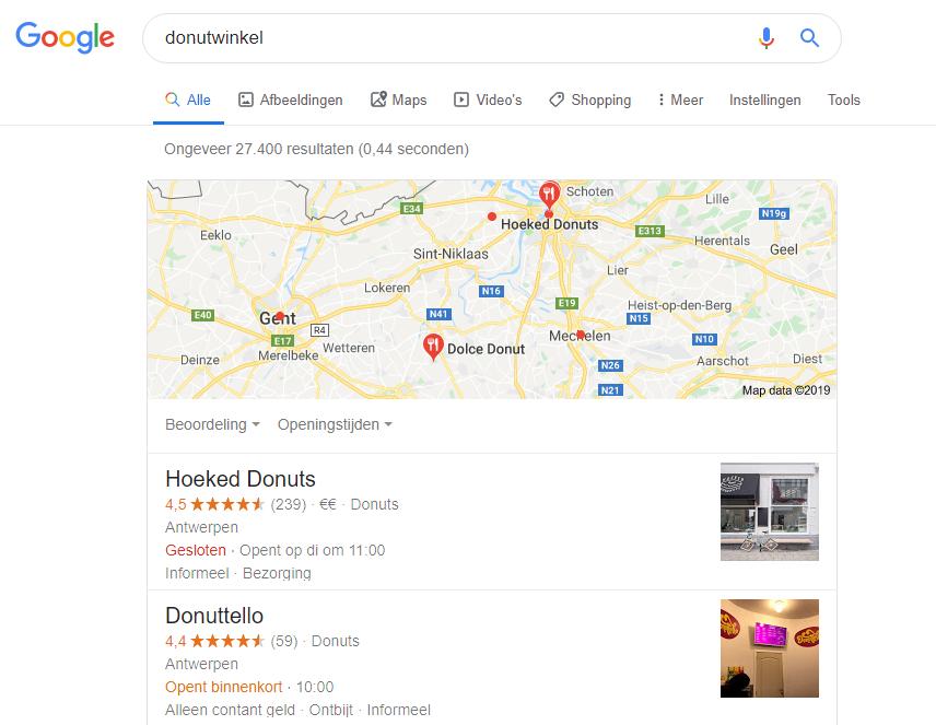 donutwinkel bovenaan in google