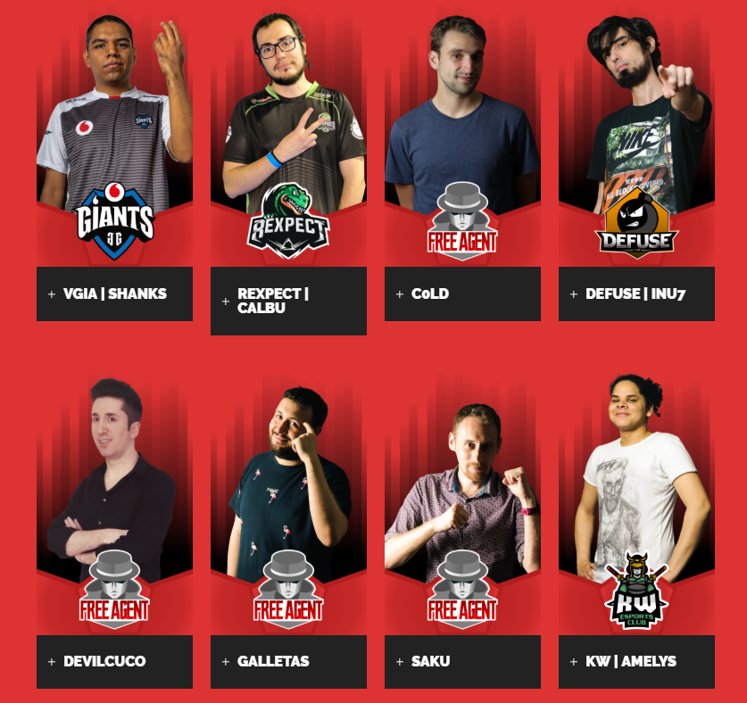 Competidores del Grupo A de la Giants Fighters League. Fuente: https://bcnfighters.com/liga/#players-grupo-a