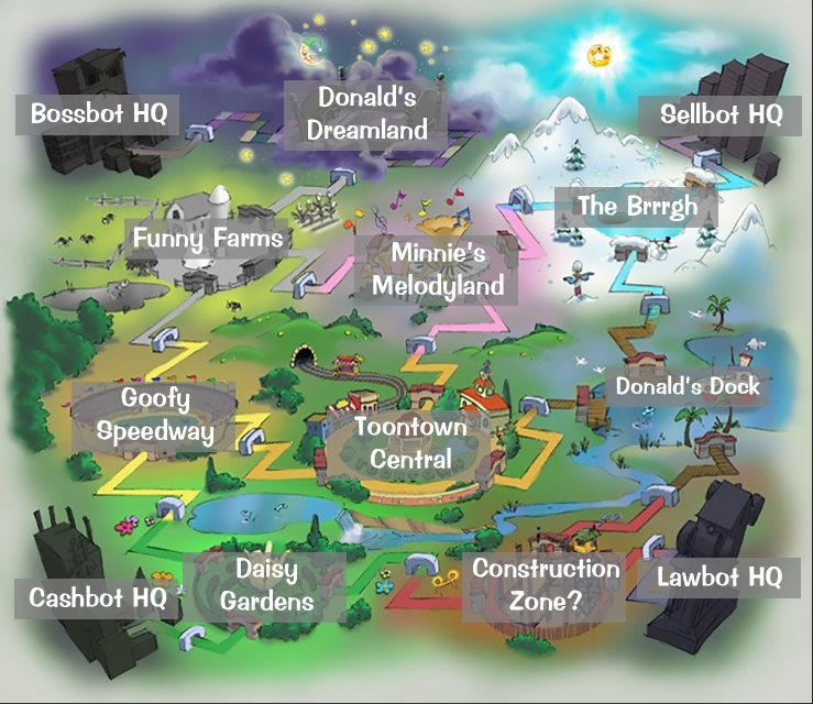 Heres A Labeled Version Of The Original Toontown Online Map Toontown