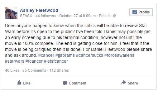 El último deseo de un hombre con cáncer es ver 'Star Wars 7'