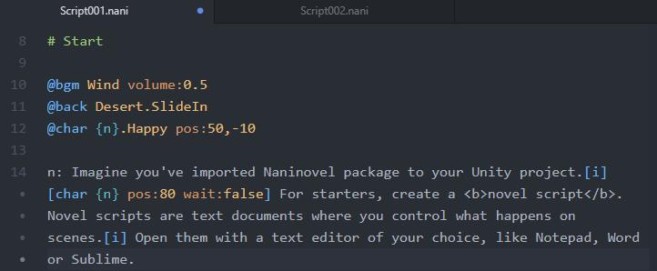Open Naninovel Script