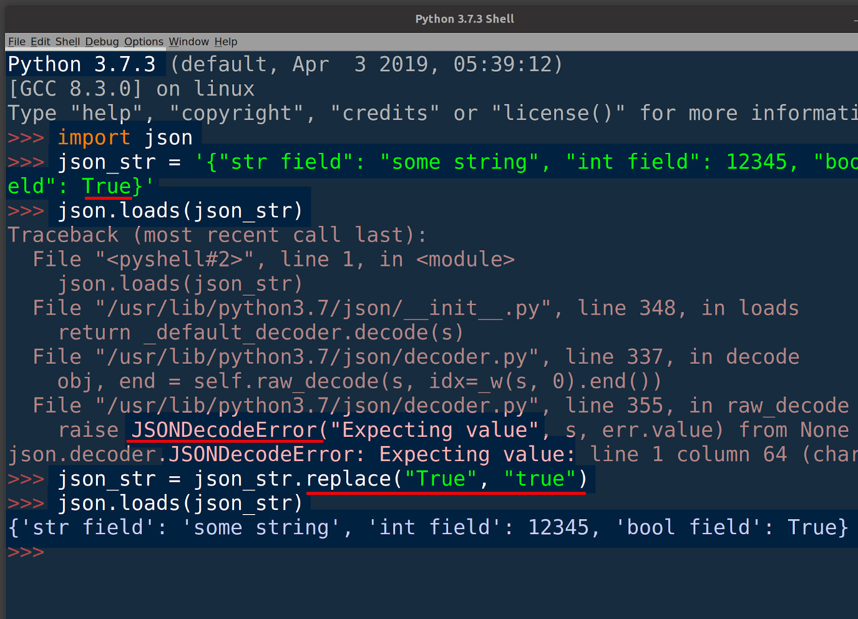 Python JSON library returning a JSONDecodeError in IDLE because of title cased Boolean values