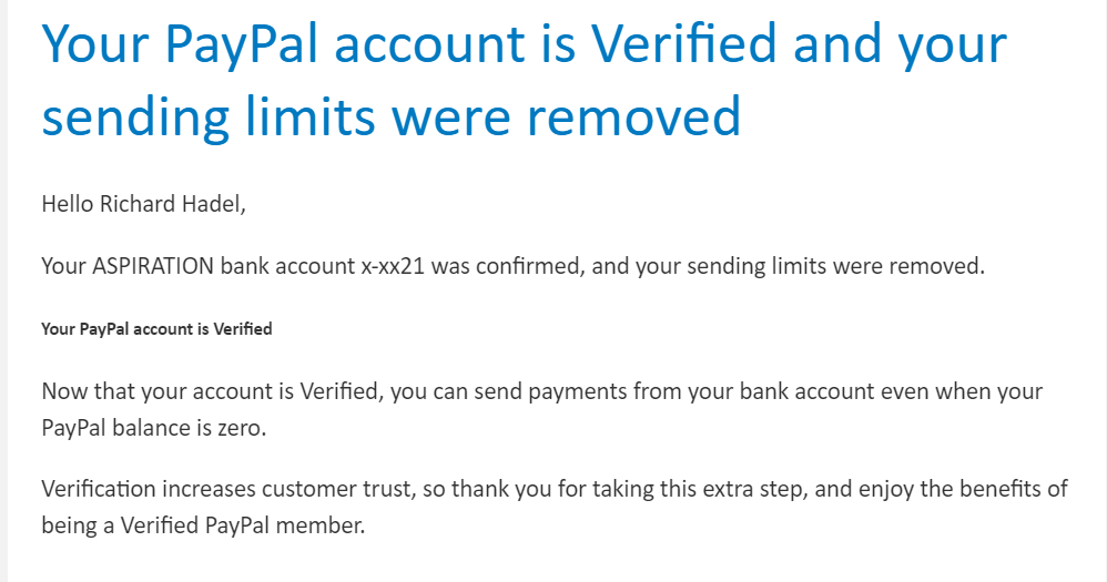 I can't pay or send money from my verified bank account