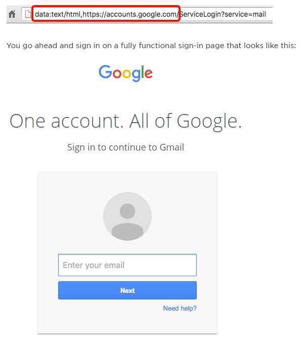 data URI phishing attack victimizing Gmail users