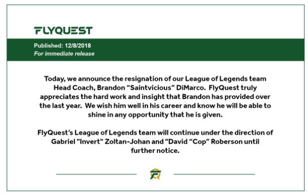 Comunicado oficial de FlyQuest sobre la salida de Saintvicious del equipo. Fuente: https://twitter.com/FlyQuestSports