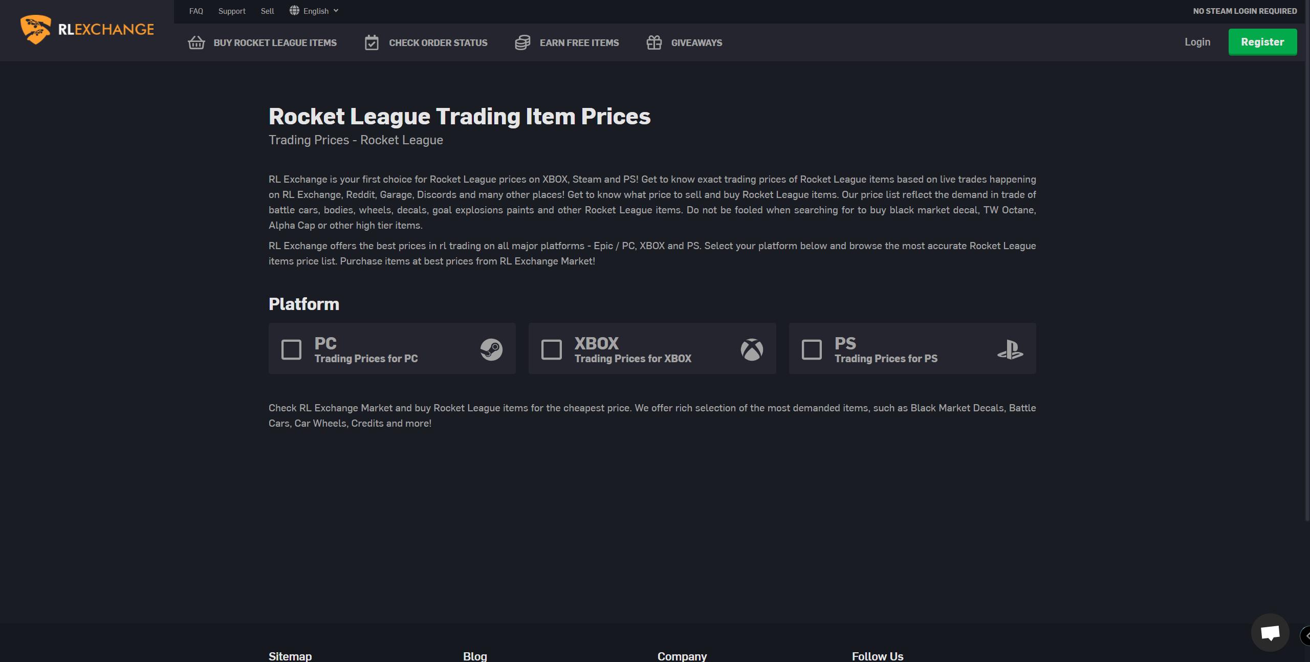 Rocket League Exchange Price List