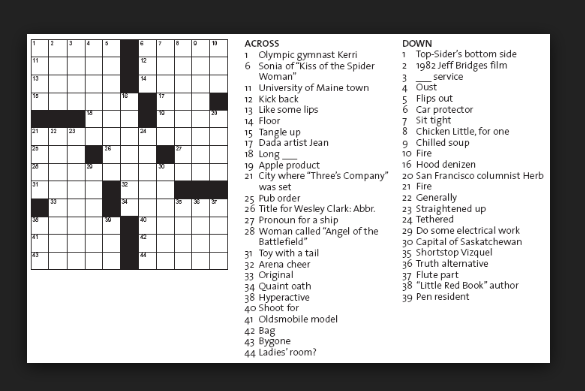 Crossword Puzzle Answers Play The Game With Fun Man Without Qualities